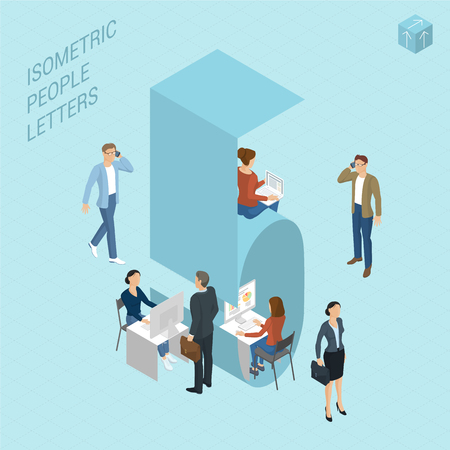 Flat design light isometric typeface numbers decorated with office workplace scenes, working, communicating, acting people, sitting and standing, front and back view. Figure five