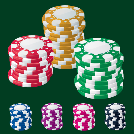 Casino chip stacks on green background vector design element set Illustration