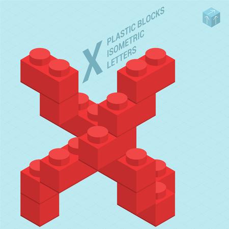 Plastic blocs constructor 3D isometric flat design typeface letter X Illustration