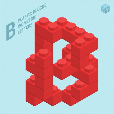 Plastic blocs constructor 3D isometric flat design typeface letter B