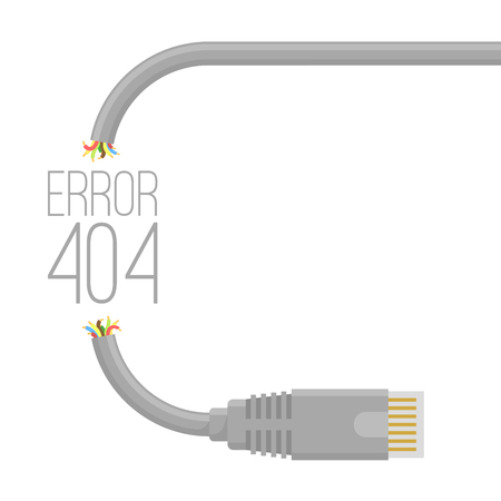 Broken cable. Connection error 404 page  vector background template. Cable and connector pattern brush to create any shape and design mock up. Stock Illustratie