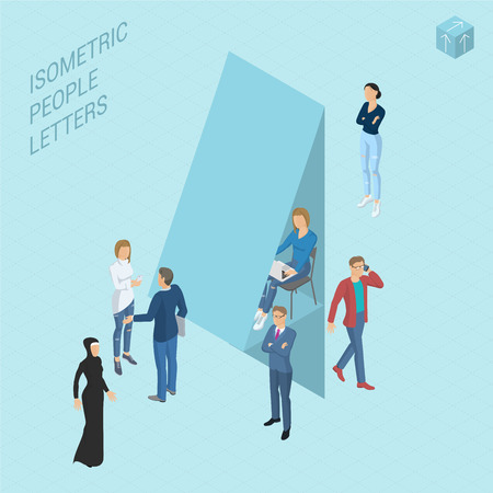 Flat design light isometric typeface numbers decorated with office workplace scenes, working, communicating, acting people, sitting and standing, front and back view. Figure four