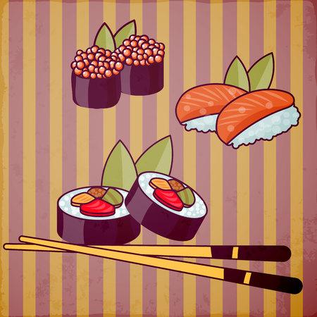 Sushi rolls vector.