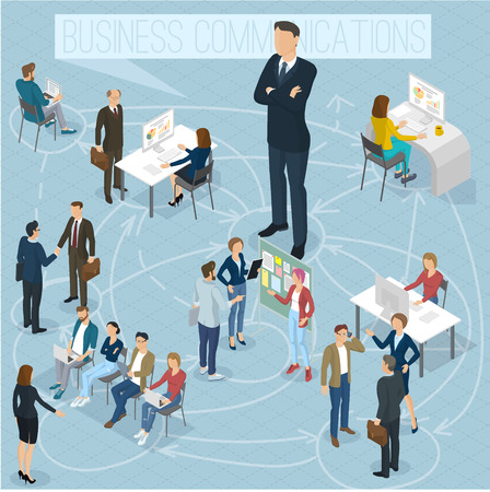 Businesswoman big boss leader office abstract with a background of isometric 3d flat design vector people different characters, styles and professions, full length diverse acting poses collection. Illustration