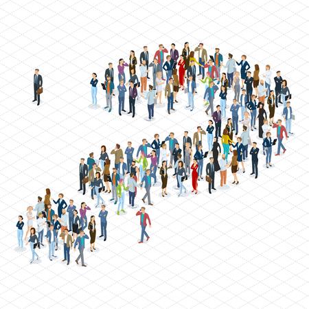 Leute drängen Fragezeichen-Vektorschablone. Isometrischer flacher Designvektor 3d, der verschiedene Charaktere, Arten und Berufe der Leute steht und sitzt.