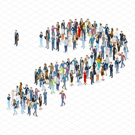 People crowd question mark vector template. Isometric 3d flat design vector standing and sitting people different characters, styles and professions.