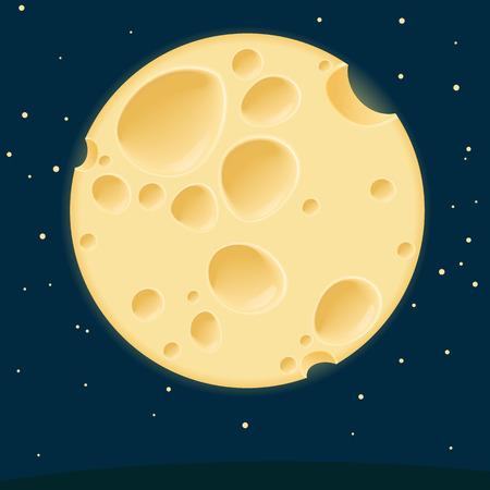 チーズ月。ベクトル テンプレート。