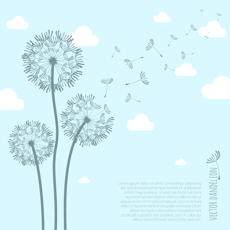 Vector dandelion silhouette with flying away seeds on the wind