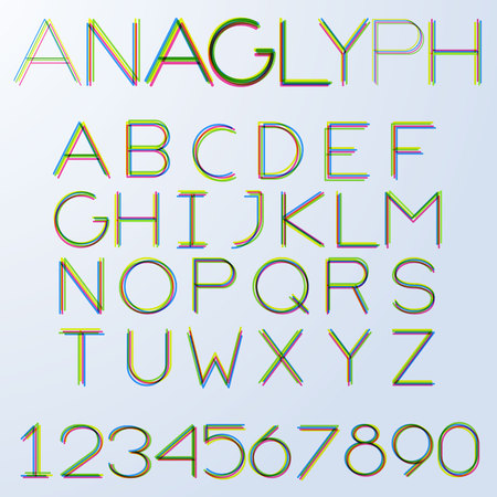 ine: Anaglyph hairline alphabet in uppercase. No fill, strokes only, easy to tune line weight. Illustration