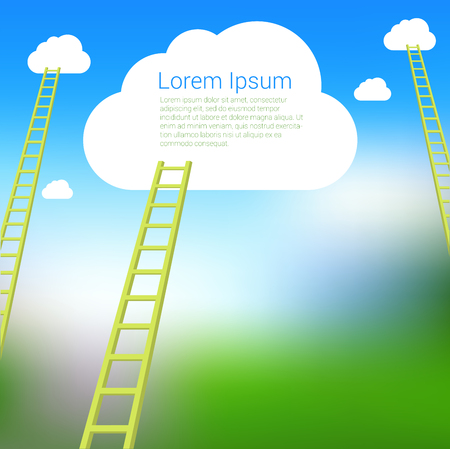 Ladder to the clouds vector template. Vector template for banner, presentation. infographics, brochure cover design. Concept for career, success, competition. Illustration