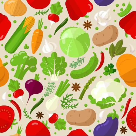Flat  design fresh  vegetables vector seamless pattern tile background texture.