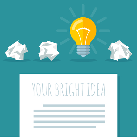 Flat design bright idea vector template with electric bulb and crumpled paper Illustration