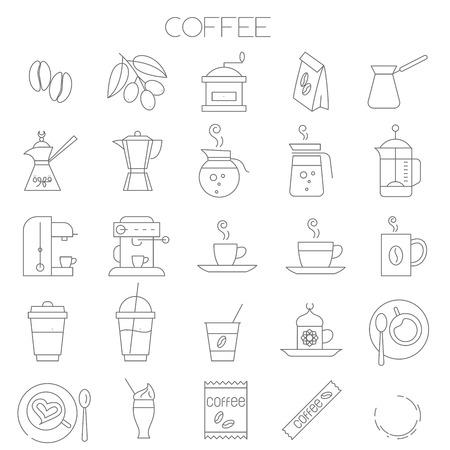Jeu d'icônes de fine ligne café vector