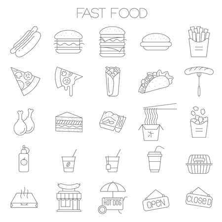 Thin line fast food vector icon set