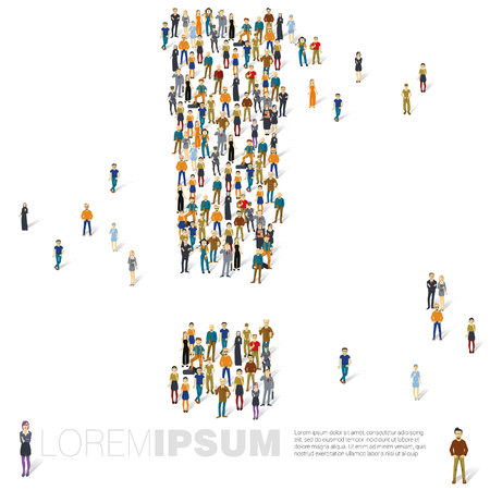 demografia: People crowd exclamation mark vector presentation mock up. Vectores