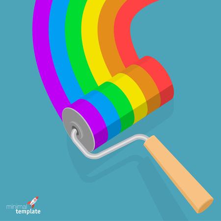 Flat design roller brush with rainbow paint vector illustration