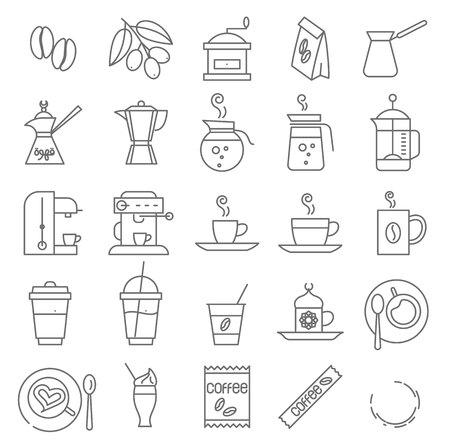 Thin line coffee icon set