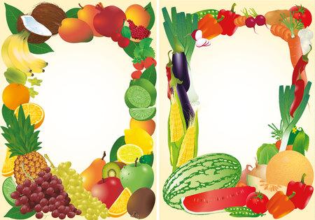 Fresh fruits and vegetable frames. Illustration