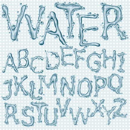 Water splash headline letters Stock Vector - 90879265