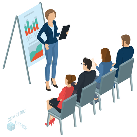 Isometric people, briefing, instruction, education, business training. Working in the office vector people different characters, styles and professions, full length diverse acting poses collection.