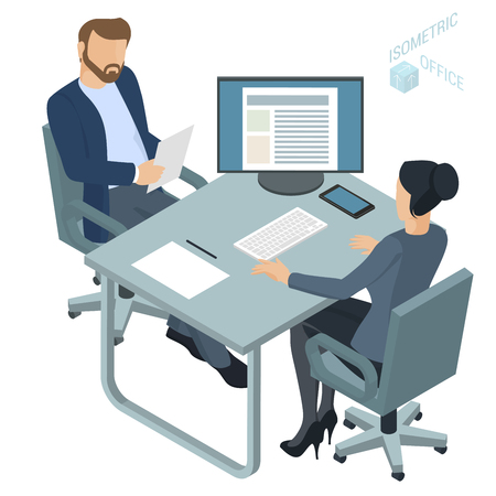 Isometric  flat design vector office. Corporate teamwork working business process. Man and woman communication illustration for infographics.