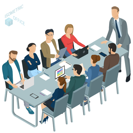 Isometric flat design vector office. Corporate briefing teamwork brainstorming. Diverse characters and professions. Isometric acting man and woman teamwork, front and back view collection Çizim