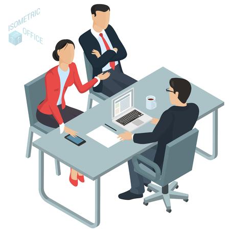Oficina de vector de diseño plano isométrico. El hombre y la mujer se comunican con el abogado en la oficina. Discusión comercial de problemas legales, corporativos conyugales y de propiedad con un asesor.
