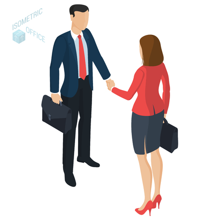 Successful businessman and businesswoman handshaking after negotiation. Isometric flat design vector people different characters, styles and professions.