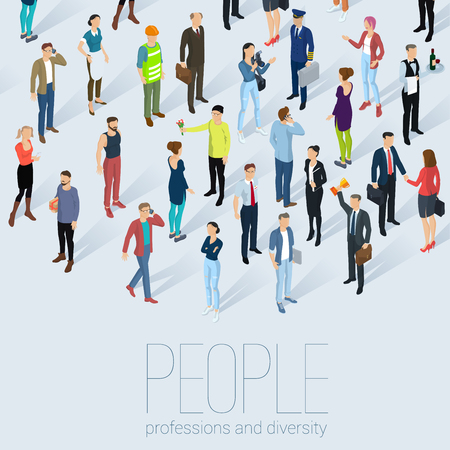 People crowd. Isometric vector background  mock up.  Different characters, styles and professions, full length diverse acting poses poster and infographic template.