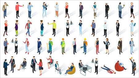 Isometrische 3d platte ontwerp mensen pictogrammen.