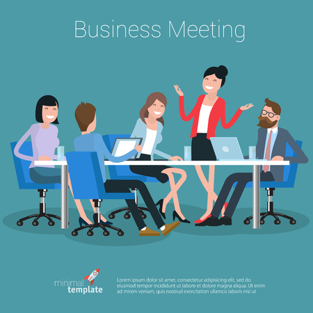 Flat design business process office vector concept. Group of business people having a meeting at the conference table.