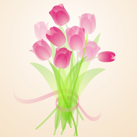 Spring fresh bouquet of pink tulips