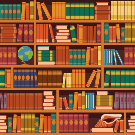 Seamless books vector illustration of vintage retro academic bookshelve pattern for  bookstore and library background or wallpaper.