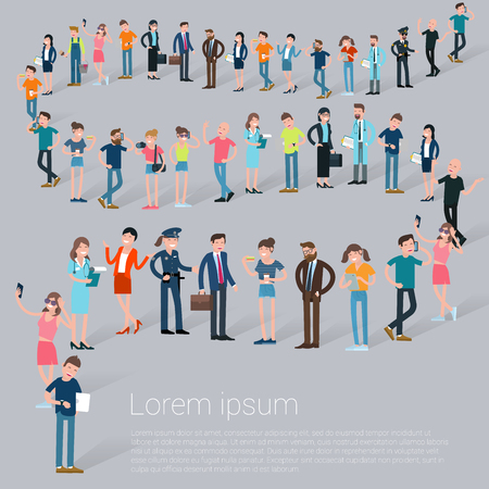 Flat design croud of people waiting in line vector presentation and web promotional banner template. Vettoriali