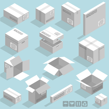 Isometric vector cardboard white boxes templates vector design element set.