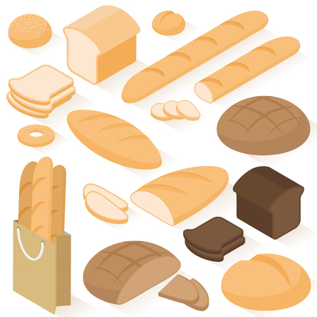 Set of isometric flat design vector isolated on white background bread icons: rye, wheat, whole grain, sliced bread, sandwich, bagel, french baguette, bun. Ilustração