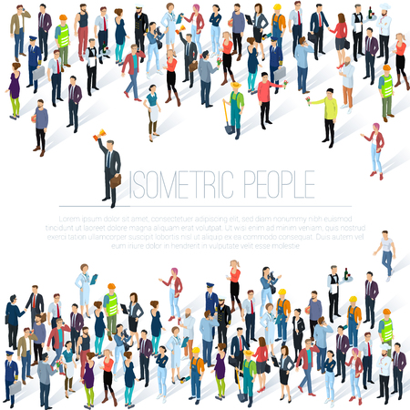 People crowd. Isometric vector background  mock up. Men and women, various professions and styles, people diversity presentation, web site, banner template.
