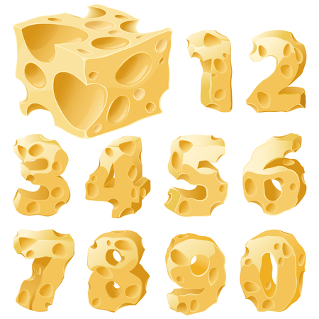 Cheese full figures set. Vector typeface alphabet.