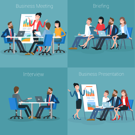 Flat design vector illustration of personnel training. Business employee  coaching  presentation template.