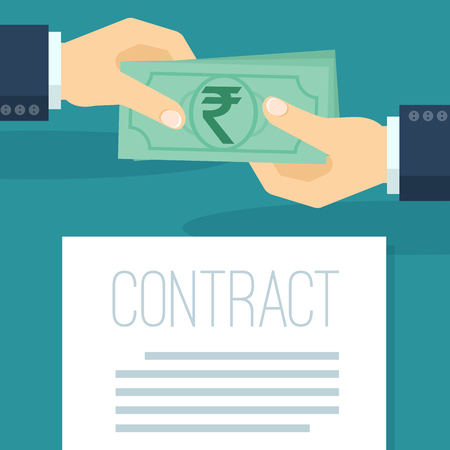 Flat design businessman pays  Indian rupees under the signed contract. Hand holding indian rupee banknote. Vector icon template. Ilustração