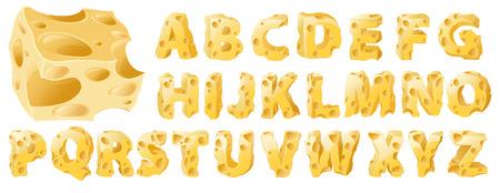 Cheese full letters set. Vector typeface alphabet. Stock Illustratie