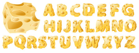 Cheese full letters set. Vector typeface alphabet. 向量圖像