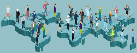 Mapa isométrico del mundo global. Personas de diferentes profesiones, plantilla de vector de presentación de infografía de población.