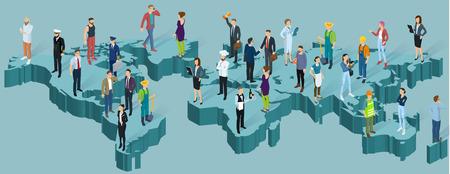 Mappa isometrica del mondo globale. Persone di diverse professioni, modello di vettore di presentazione infografica di popolazione.