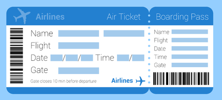 Flat design air ticket icon. Air ticket template set. Boarding pass air ticket mock up for application interface, presentation and web design and mobile app. Vector icon for online travel booking.