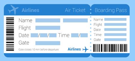 Icono de boleto aéreo de diseño plano. Conjunto de plantillas de boleto aéreo. Boleto aéreo de la tarjeta de embarque maqueta para la interfaz de la aplicación, la presentación y el diseño web y la aplicación móvil. Icono de vector de reserva de viajes en línea.