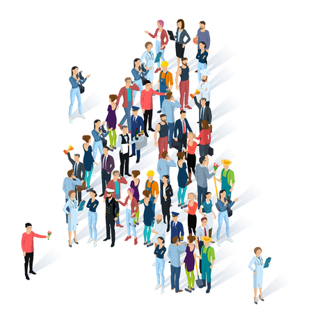 Crowded isometric people vector alphabet typeface numbers.    Men and women various characters and professions. Figure four. Illustration