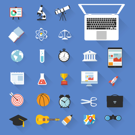 Flat design education color objects school and college vector icon set Illustration