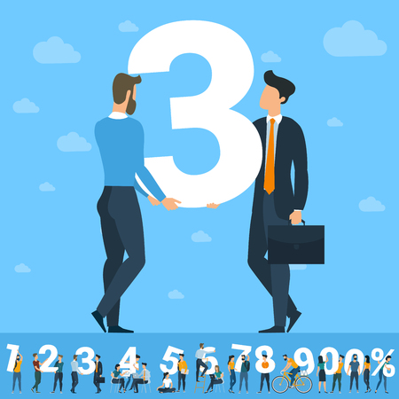Big Three number. White numbers  illustration with  young people with  tablets and smartphones and computers sending and sharing  social media posts. Flat design vector concept over sky background.