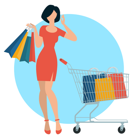 Flat design shopping people spending customer consumerism vector concept. Young woman with purchases, shopping bags and shopping cart. Ilustração